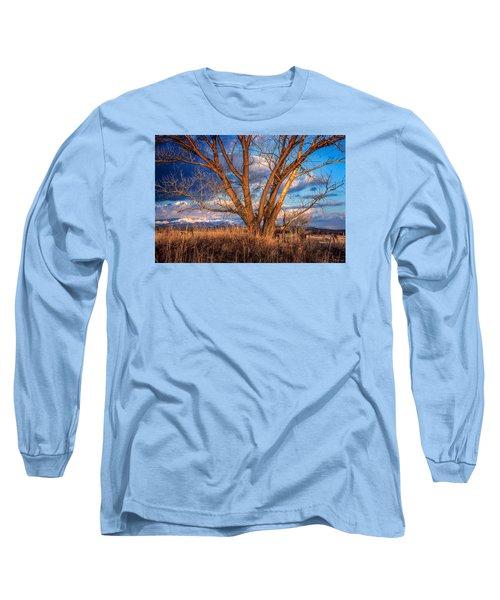 Winter Cottonwood Ranch Landscape Colorado Long Sleeve T-Shirt by John Brink