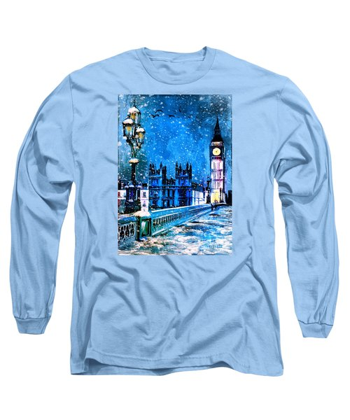 Winter In London  Long Sleeve T-Shirt by Andrzej Szczerski