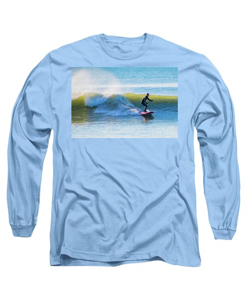 Winter Surfing In Aberystwyth Long Sleeve T-Shirt