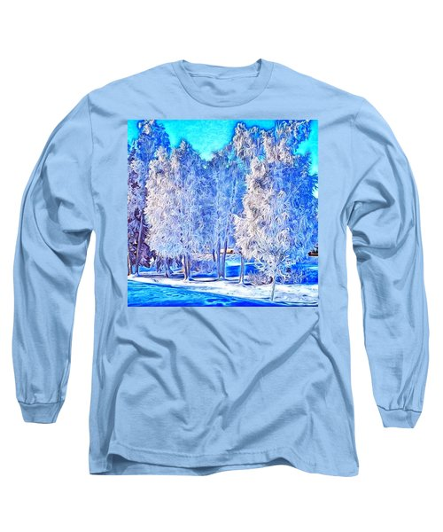 Long Sleeve T-Shirt featuring the digital art Winter Trees by Ron Bissett