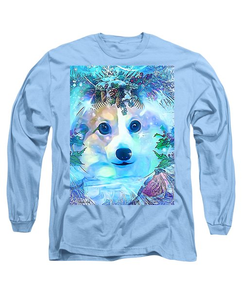 Long Sleeve T-Shirt featuring the digital art Winter Welsh Corgi by Kathy Kelly