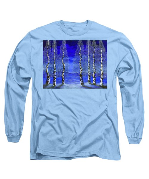 Long Sleeve T-Shirt featuring the painting Winters Raven Aspen by Rebecca Parker