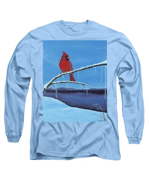 Long Sleeve T-Shirt featuring the painting Winter's Red by Susan DeLain