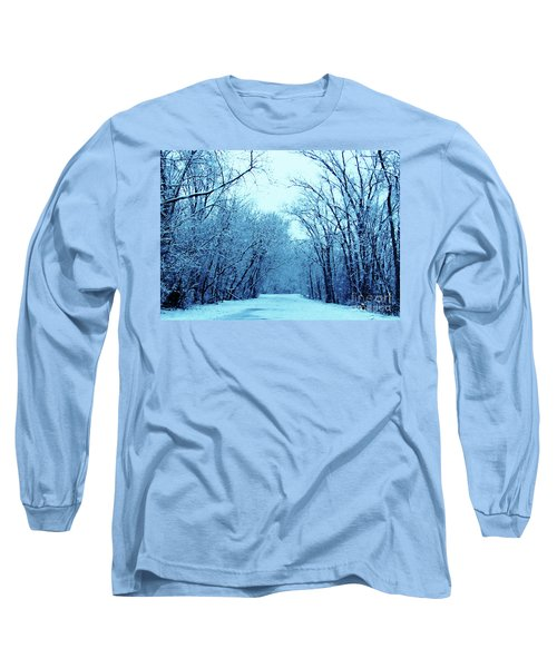 Wisconsin Frosty Road In Winter Ice Long Sleeve T-Shirt