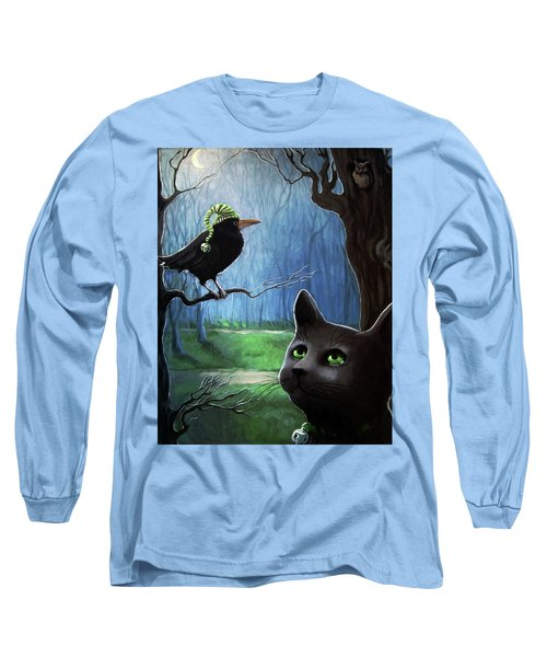 Long Sleeve T-Shirt featuring the painting Wit's End - Winter Nightime Forest by Linda Apple