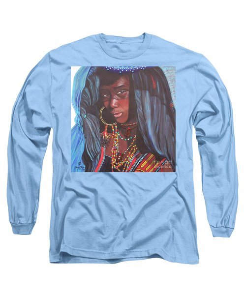 Long Sleeve T-Shirt featuring the painting Wodaabe Girl by Sigrid Tune