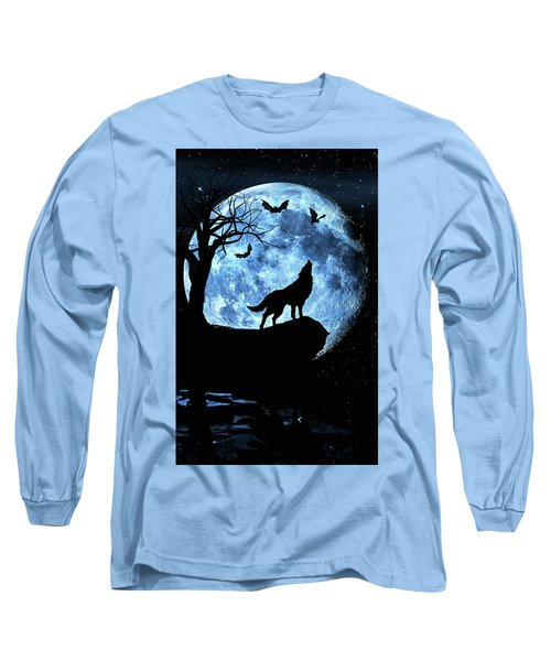 Long Sleeve T-Shirt featuring the photograph Wolf Howling At Full Moon With Bats by Justin Kelefas