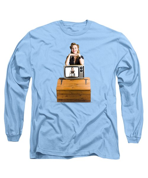 Woman  In Front Of Tv Camera Long Sleeve T-Shirt by Jorgo Photography - Wall Art Gallery
