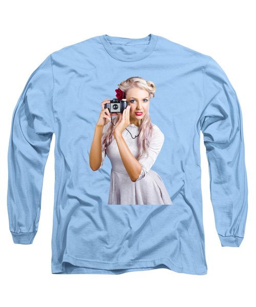 Woman Using Retro Film Camera Long Sleeve T-Shirt by Jorgo Photography - Wall Art Gallery
