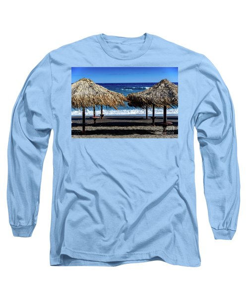 Wood Thatch Umbrellas On Black Sand Beach, Perissa Beach, In Santorini, Greece Long Sleeve T-Shirt