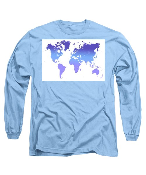 Long Sleeve T-Shirt featuring the photograph World Map Abstract. Blue Purple by Jenny Rainbow