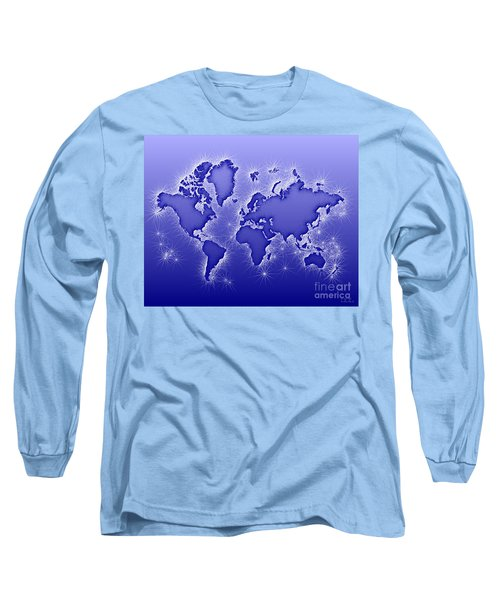 World Map Opala In Blue And White Long Sleeve T-Shirt by Eleven Corners