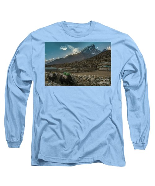 Long Sleeve T-Shirt featuring the photograph Yaks Moving Through Dingboche by Mike Reid