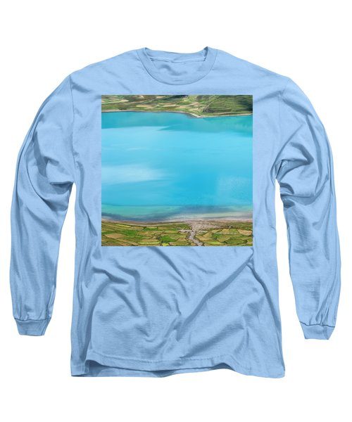 Long Sleeve T-Shirt featuring the photograph Yamdrok Abstract 2, Tibet, 2007 by Hitendra SINKAR