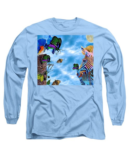 Zebras Birds And Butterflies Good Morning My Friends Long Sleeve T-Shirt by Saundra Myles