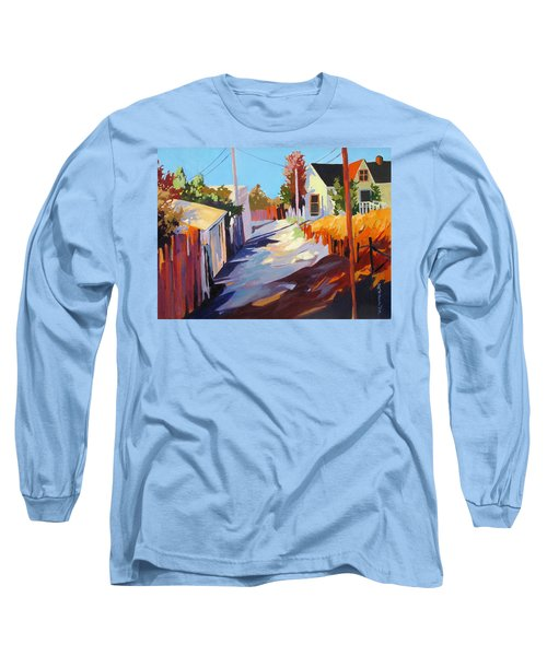 Long Sleeve T-Shirt featuring the painting Zig Zag Shadows by Rae Andrews