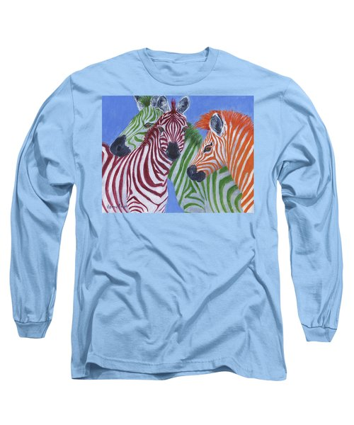 Long Sleeve T-Shirt featuring the painting Zzzebras by Jamie Frier