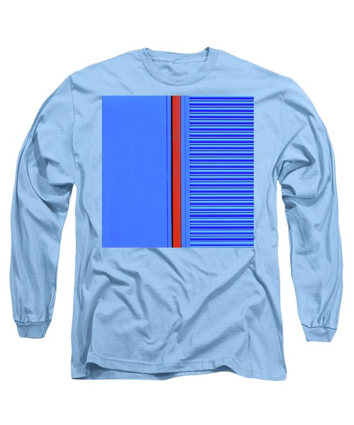 Blue With Red Stripe Long Sleeve T-Shirt