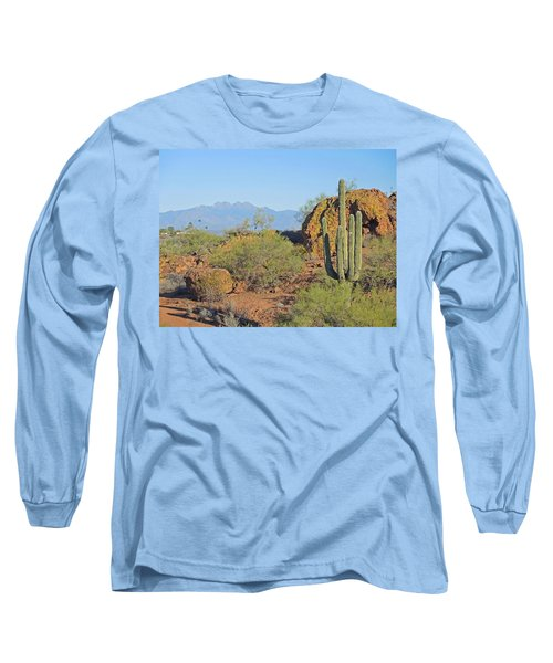 Long Sleeve T-Shirt featuring the photograph View To Four Peaks  by Lynda Lehmann