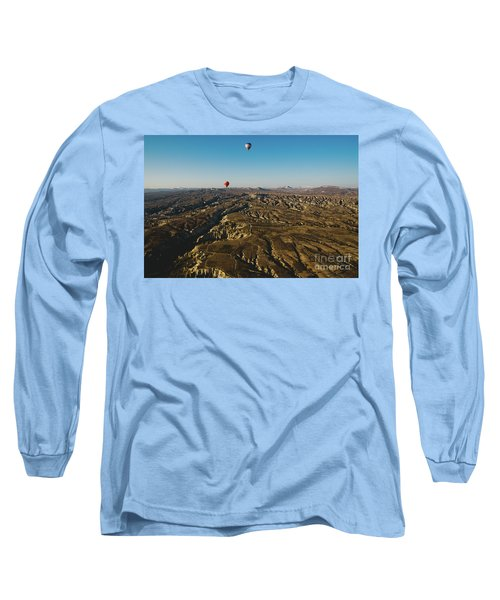Colorful Balloons Flying Over Mountains And With Blue Sky Long Sleeve T-Shirt