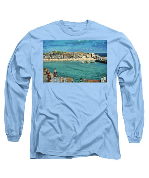 Beach From Across Bay St. Ives, Cornwall, England Long Sleeve T-Shirt