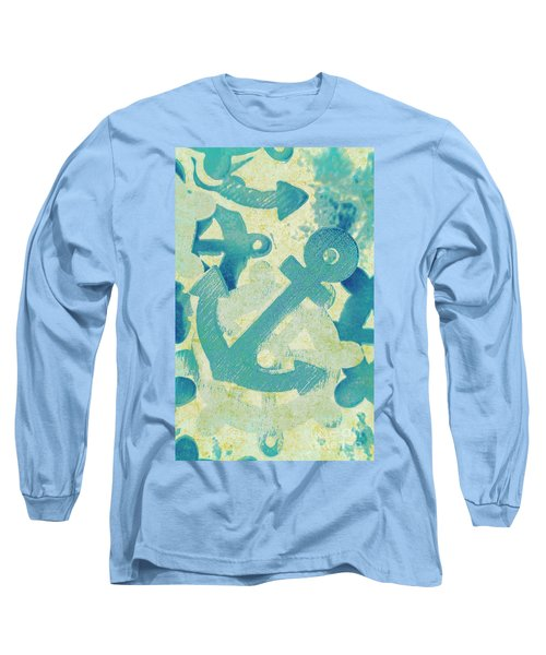 Blue Boating Button Long Sleeve T-Shirt