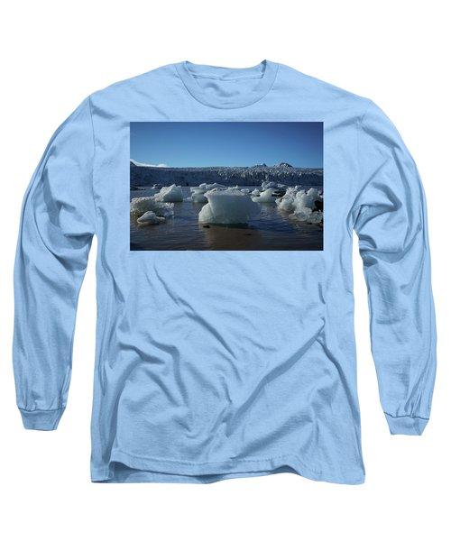 Blue Icebergs Floating Along Storm Arctic Coast Panorama Long Sleeve T-Shirt