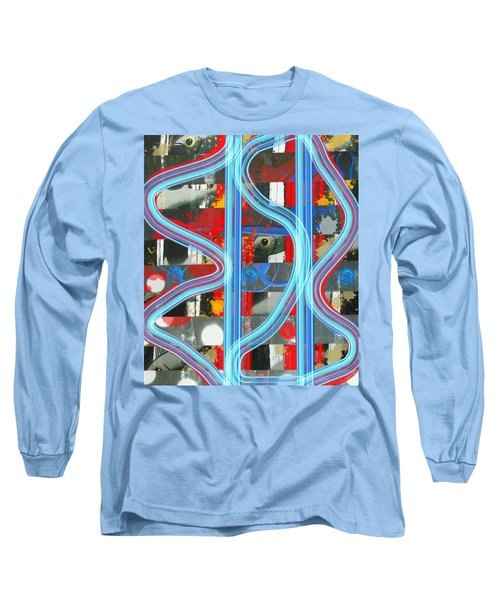 Blue Meet Red Black And White Fish Long Sleeve T-Shirt