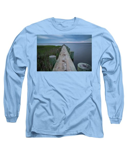 Breakwater At Harvey Beach In Old Saybrook Long Sleeve T-Shirt