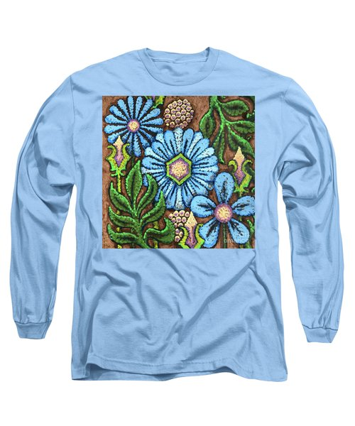 Brown And Blue Floral 1 Long Sleeve T-Shirt