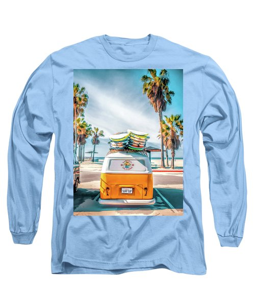 Long Sleeve T-Shirt featuring the painting California Surfer Van by Christopher Arndt