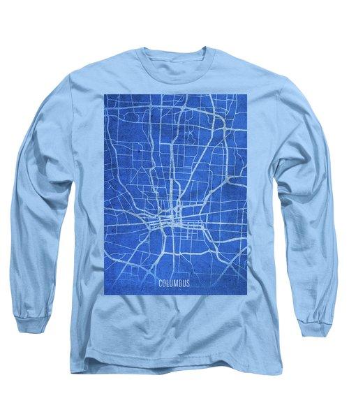 Columbus Ohio City Street Map Blueprints Long Sleeve T-Shirt
