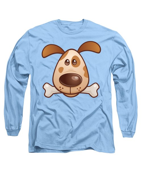 Cute Puppy With Bone Long Sleeve T-Shirt