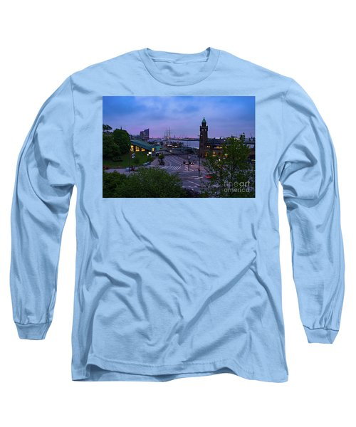 Dawn Over The Port And City Hamburg Panorama Long Sleeve T-Shirt
