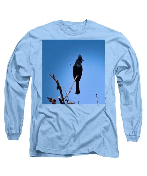 Desert Phainopepla And Dragonfly Long Sleeve T-Shirt