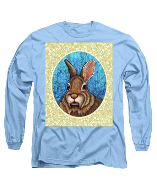 Eastern Cottontail Portrait - Cream Border Long Sleeve T-Shirt