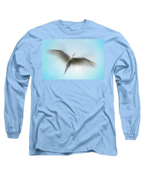 Egret In Motion Long Sleeve T-Shirt