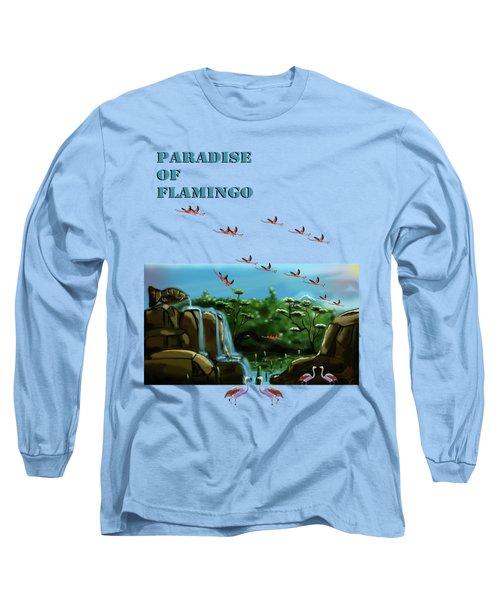 Fish Lake And Flamingo Paradise Long Sleeve T-Shirt