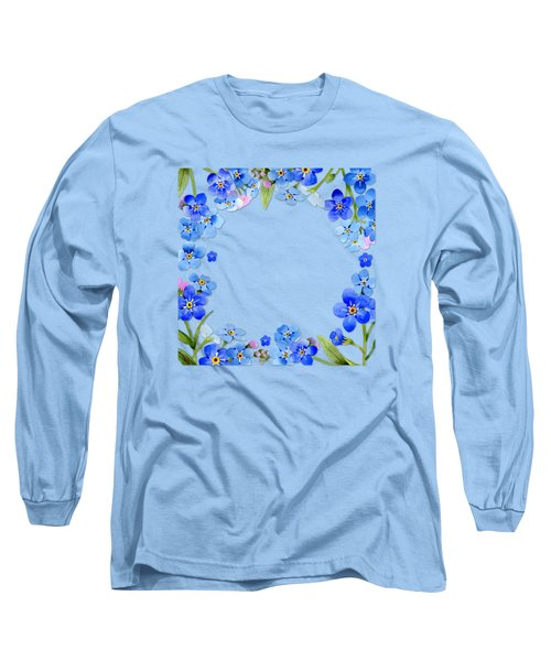 Frame Wreath Of Blue Forget Me Not Flowers On Cream Marble Long Sleeve T-Shirt