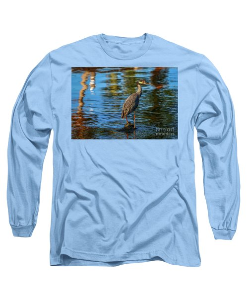 Heron On Rock Long Sleeve T-Shirt