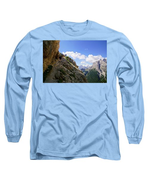 Hikers On Steep Trail Up Monte Piana Long Sleeve T-Shirt