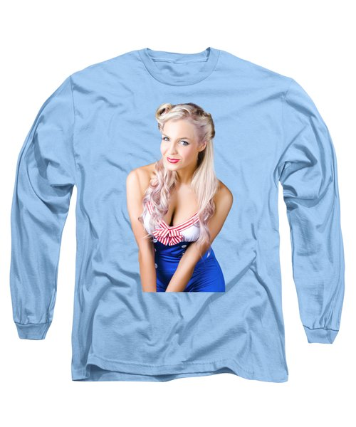 Navy Pinup Woman Long Sleeve T-Shirt