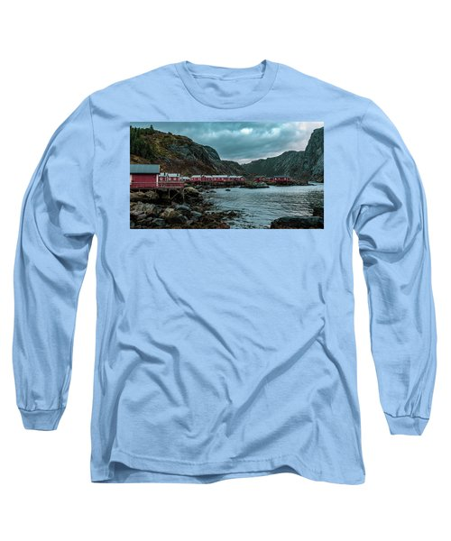 Norway Panoramic View Of Lofoten Islands In Norway With Sunset Scenic Long Sleeve T-Shirt