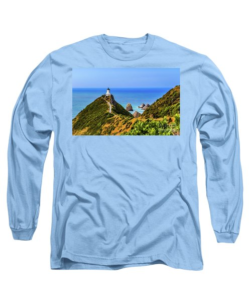Nugget Point Lighthouse, New Zealand Long Sleeve T-Shirt