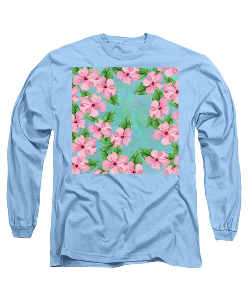 Pink Hibiscus Tropical Floral Print Long Sleeve T-Shirt