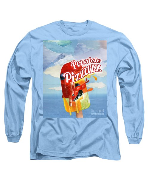 Popsicle Pizzazz - Mixed Media Paper Collage Long Sleeve T-Shirt