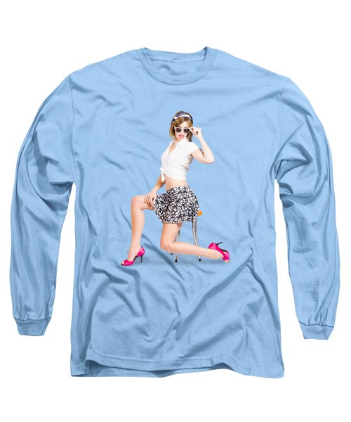Retro Brunette Pin Up Girl In Sixties Fashion Long Sleeve T-Shirt