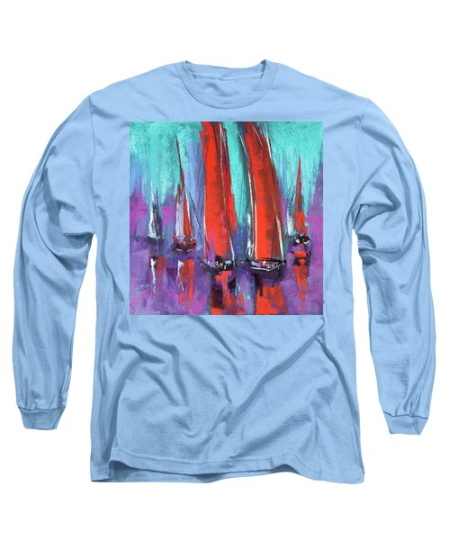 Long Sleeve T-Shirt featuring the pastel Sailing by David Patterson