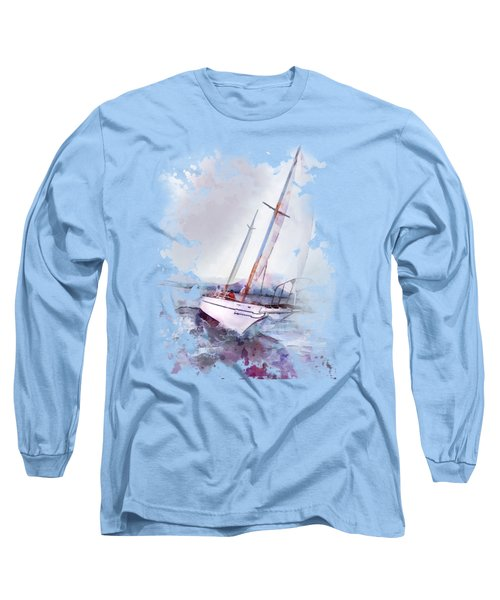 Setting Sail At Daybreak Watercolor Splash Long Sleeve T-Shirt