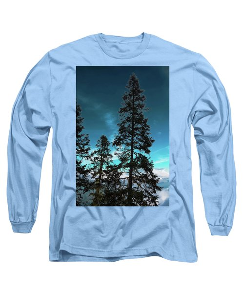 Silhouette Of Tall Conifers In Autumn Long Sleeve T-Shirt